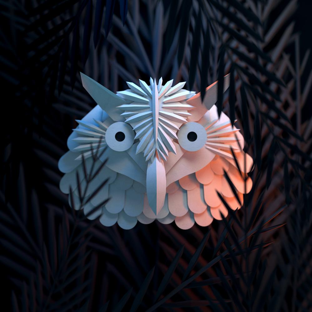 Masque de papier Hiboux - Paul Roset Graphisme